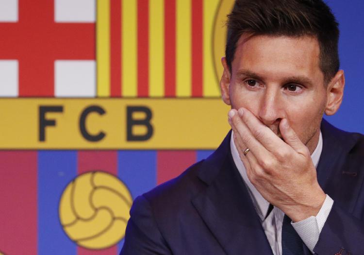 Lionel Messi en la rueda de prensa de despedida del FC Barcelona