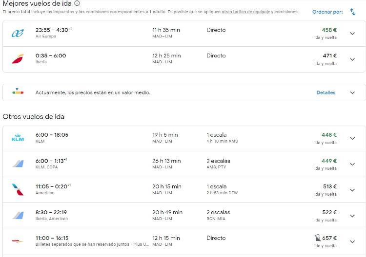 google vuelos madrid lima 1803