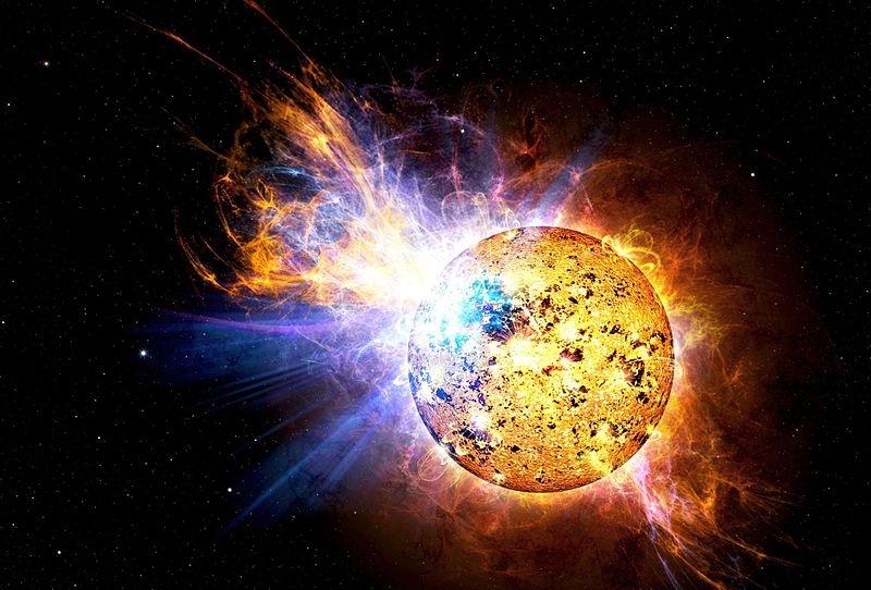 Ilustración de la NASA explicativa de la energía desprendida por una estrella. Fuente: NASA Lacertae