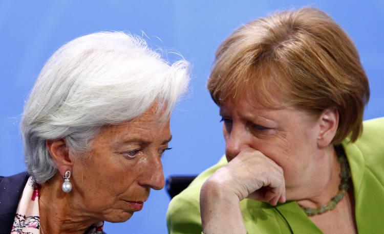 Christine Lagarde (presidenta del BCE) Y Angela Merkel (canciller alemana)