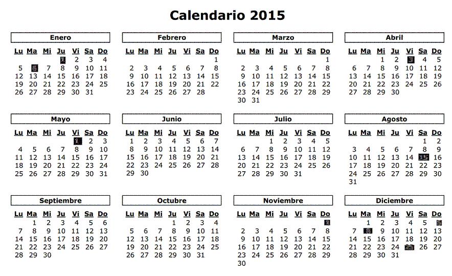 Calendario laboral 2015 8 fiestas nacionales para el for Calendario 2015 ministerio del interior